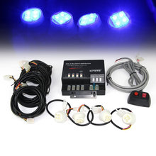 12v 80 Watt Power Supply 4 LED Bulb Emergency Warning Strobe Kit - Blue