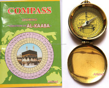 Artshai brass made Qibla Compass with Booklet. Golden magnetic compass for finding Islaminc Namaz direction