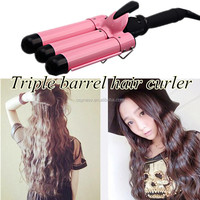 110V-240V triple barrel the Hair triple 3 barrel hair Waver Curler Curling Iron Deep Iron Plug Styling Tools