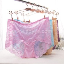 Latest design fashion lace underwear sexy transparent woman wearing panties