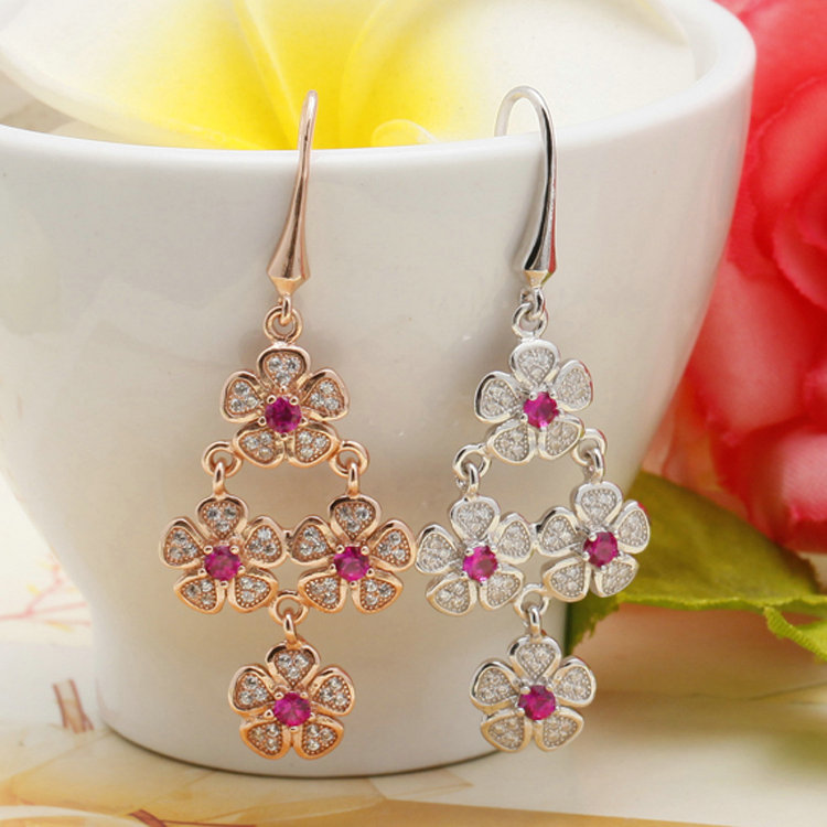 Fashion Design Rose Gold Jewelry, Flower Beads Earrings, Luxury Crystal Drop Earrings Women