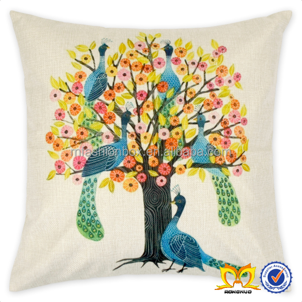 Peacock Personalized 18x18 Inch Square Cover Cotton Blend Linen Throw Pillow Case Decor Cushion Covers