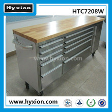 Hyxion 72'' rolling wood top 15 drawers metal tool cabinet