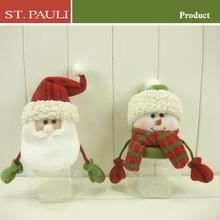 8inch new design velvet fabric hanging unique santa and snowman Christmas candy jars
