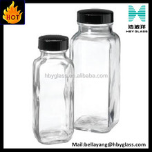 8 oz 16oz French Square Clear Glass Bottle Food Square Glass Bottles