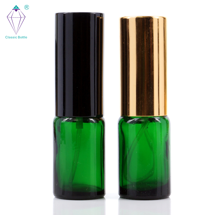10ml empty green essential oil glass bottles with electrochemical aluminum sprayers