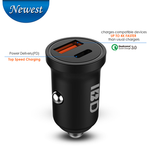 IBD 36W Dual USB Car Fast Charger QC3.0 Quick Charge 3.0 USB PD Type-C Car-charger With LED light for mobile phone