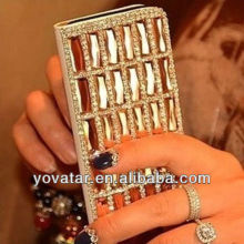 NEW Champagne bling PU Leather Flip Wallet FOR iphone 4 4s 5 5g samsung S4 case
