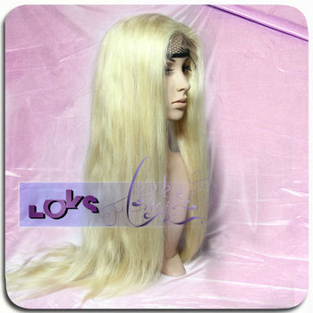 Wholesale Price 613# Light Color Straight Free Style European Human Hair Lace Wig