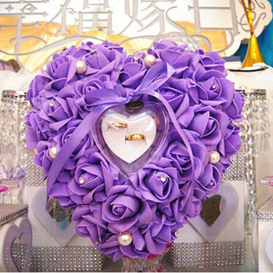 Hand Made 6 Color Wedding Favors Ring Gift Box Heart Shaped Design Pillow Cushion Decoration