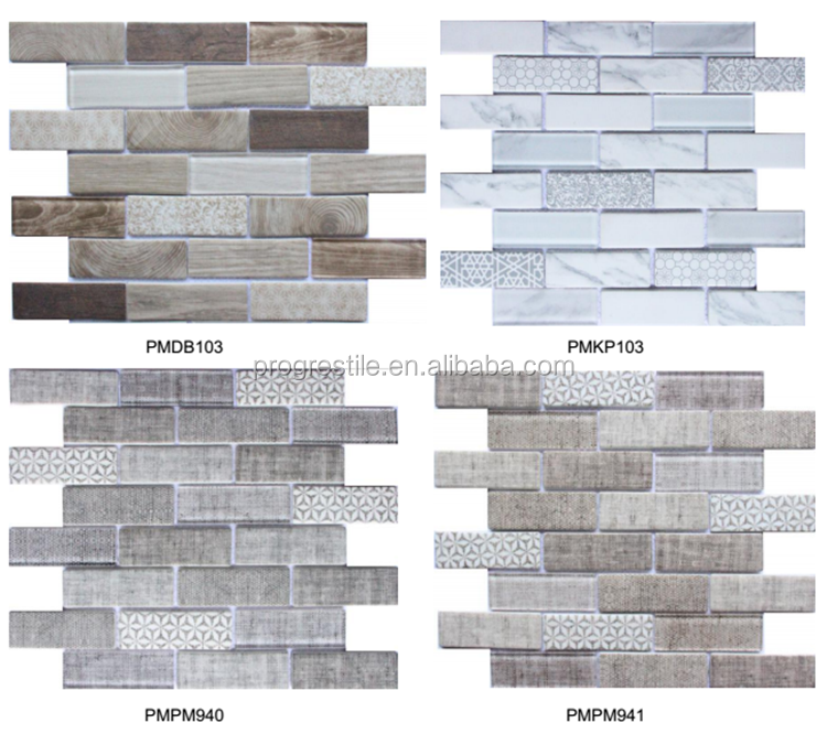 Quality design use for outdoor and indoor wood looking marble mosaic tile