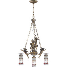 Classic italian 3 arms crystal raindrop antique brass angel chandeliers