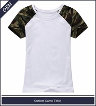 Blank raglan t shirt wholesale camo t shirt