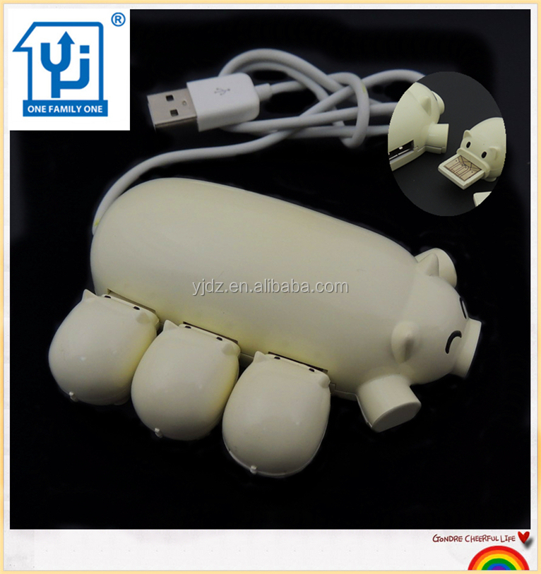 Top Selling Products in Alibaba Cartoon Pig USB Hub Long Cable with 3 Port