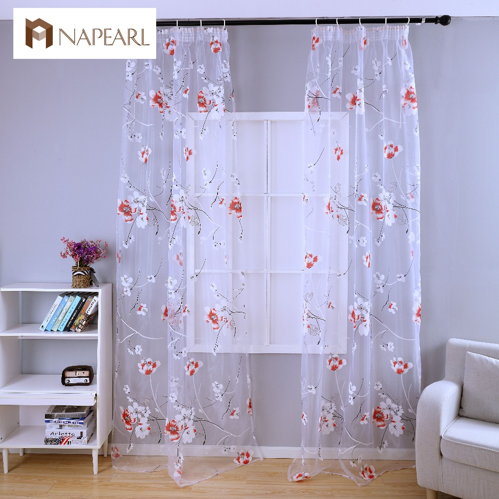 NAPEARL floral balcony window curtain sheer fabric for curtains