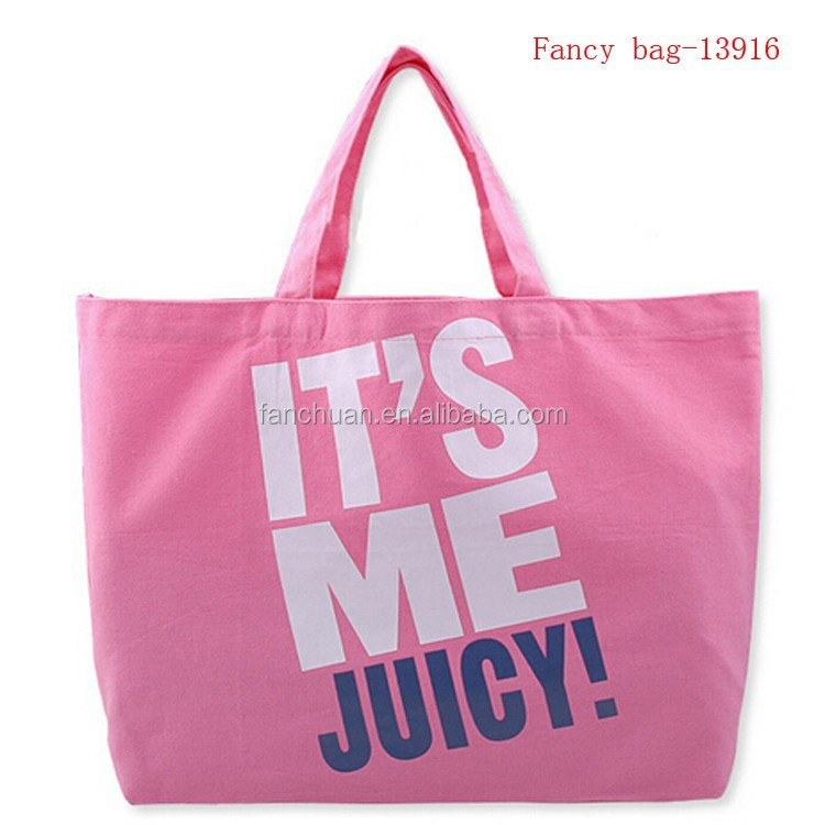 Custom Canvas Pink letter printed bag shopping cheap Wholesale