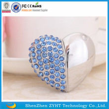 2017 USB Flash Drive Fashion 1gb Jewelry Crystal Heart USB 2.0 Flash Pen Drive Memory Stick Disk 8GB