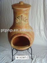 clay chimeneas with metal stand and fire shelf for BBQ