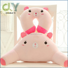 custom cheapest Cute Pink Rabbit Cartoon Large Waist Back Cushion U-shaped Neck Pillow Set 3d animal tube pillow