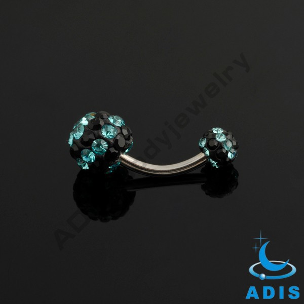 Wholesale cheap navel piercing 14 gauge Shamballa belly button ring
