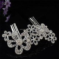 Facoty price OEM jewelry customized crystal bridal accessory metal hair ornament bridal hair combs