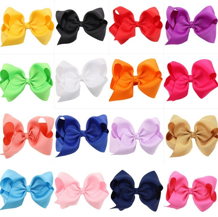 "Boutique 5"" Large Solid Grosgrain Ribbon Hair Bow Clips Barrette Bow For Women Girls Accessories"