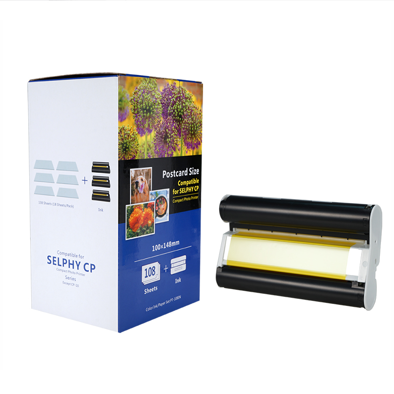 wholesale compatible kp 108in for canon selphy cp1200 printer ink full color photo paper