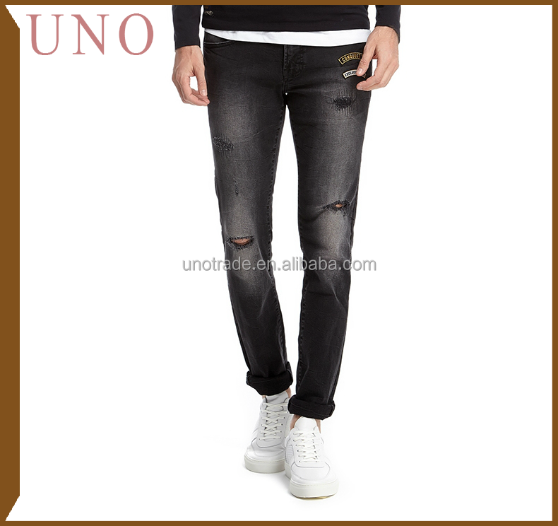 V0062 Customized Ripped and Patch Slim-Leg Jeans Skinny Denim Picture