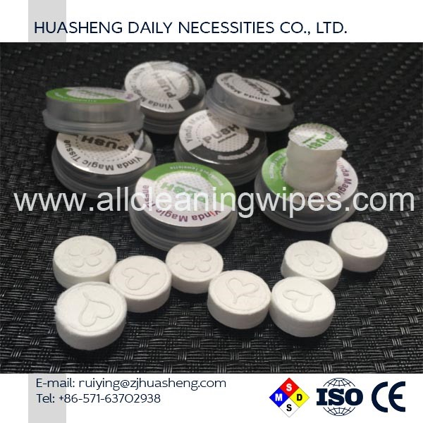 pure cotton disposal mini compressed coin tissue