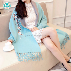 Autumn winter scarf women poncho wraps embroidered cashmere and acrylic shawls