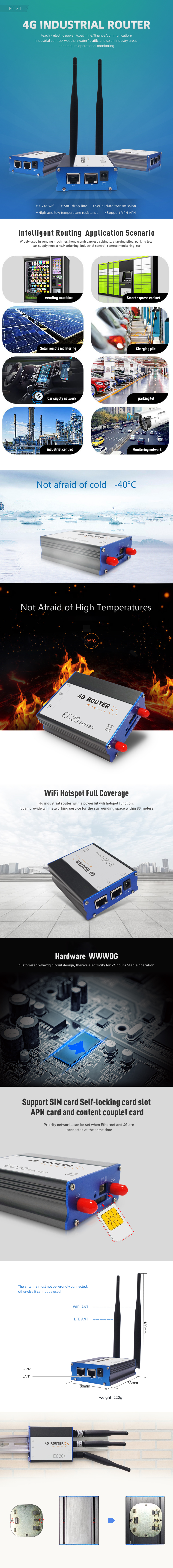 VPN APN supported one sim card slot wireless 2.4G wifi 4g industrial router