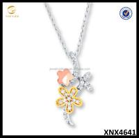 10K Tri Tone Sterling Silver Flower Necklace European Jewellery
