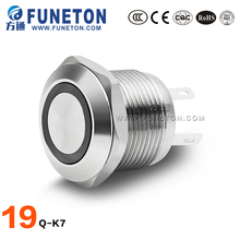 19mm IP65 push button switch with led light