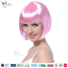 Styler Brand short straight bob hair wig women halloween party ombre pink wig