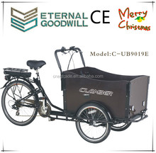2015 Holland electric 3 wheel cargo bike with rain cover / cargobike factory/kids cargo tricycle cargo bike pedelec 9019E