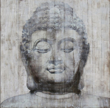 Classic abstract Buddha face wood oil painting series