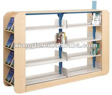 Popular design!!! metal frame and wood end book display rack