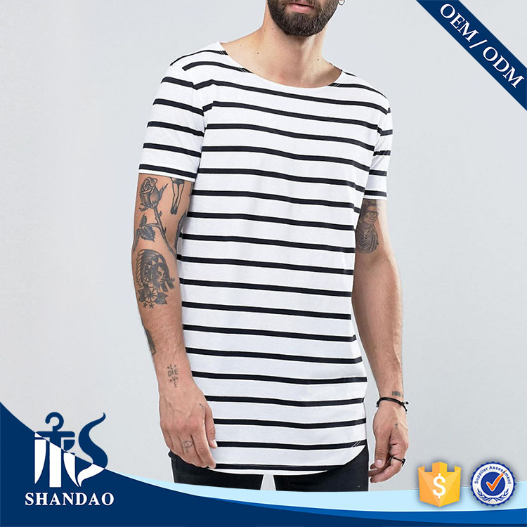 Shandao New Desiign Striped 180G 100% Cotton Curved Hem Short Sleeve O-Neck different types of t shirts