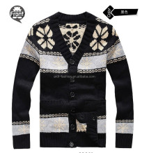 fancy design V neck snowflake jacquard mens wool cardigan