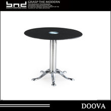 Modern middle size glass top round coffee fastfood dining table B001