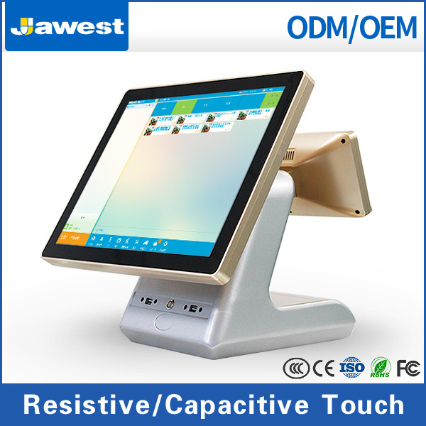 Touch Screen POS Cash Register with LCD customer display Restaurant ordering machine with software multi-language