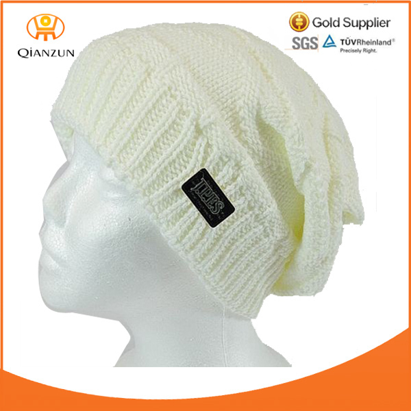 Ski Skull Hat Women Men Unisex Leather Label Knit White Baggy Slouchy Beanie Cap