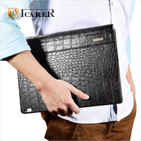 ICARER Crocodile Genuine Leather Flip Wallet Case Cover with Stand Function for Microsoft Surface Book