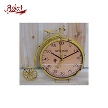 BSCI most popular iron and paper yellow craft clock old model bike for garden