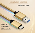 Gold head nylon braided USB 3.1Type-C cable to To Usb 3.0 A Male fast Data Charging Cable for phone/macbook/tablet