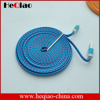 Durable flat fabric braided usb cable charging sync for iphone 5 5s 5c usb cable