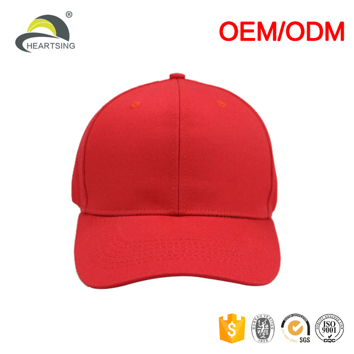 Red cotton 6 panel unisex custom embroidered fitted baseball caps and hats