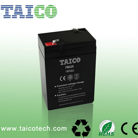 Maintenance free 4v 2ah rechargeable lead acid battery for LED light