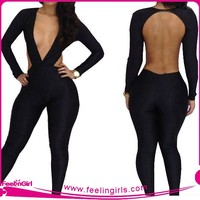 High Quality Sexy Young Ladies Black One Piece Jumpsuit
