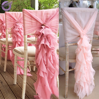 19869 Chair covers Wedding decoration ruffled curly willow chair sashes